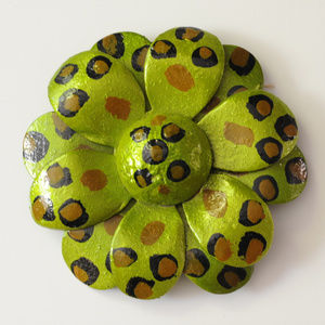 vintage jumbo huge green spotted flower brooch pin
